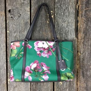Dana Buchman Green Floral Brown Leather Purse